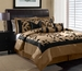 7 Piece King Amelia Black and Tan Flocked Comforter Set