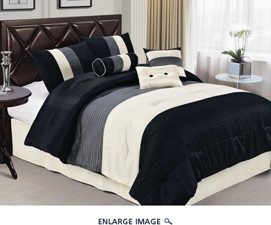 7 Piece King Black Pleating Bedding Comforter Set