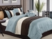 7 Piece King Blue Pleating Bedding Comforter Set