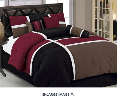 7 Piece King Burgundy and Coffee Comforter Set