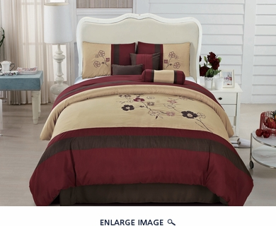 7 Piece King Burgundy Embroidered Comforter Set