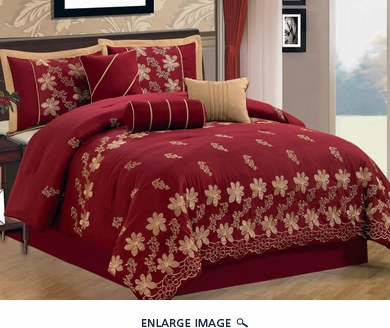 7 Piece King Burgundy Floral Embroidered Comforter Set