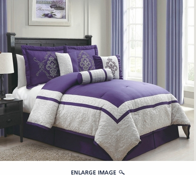 7 Piece King Dacia Blue and Ivory Comforter Set