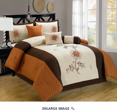 7 Piece King Elora Floral Orange and Ivory Comforter Set