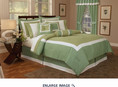 7 Piece King Hotel Collection Block Duvet Cover Set Sage