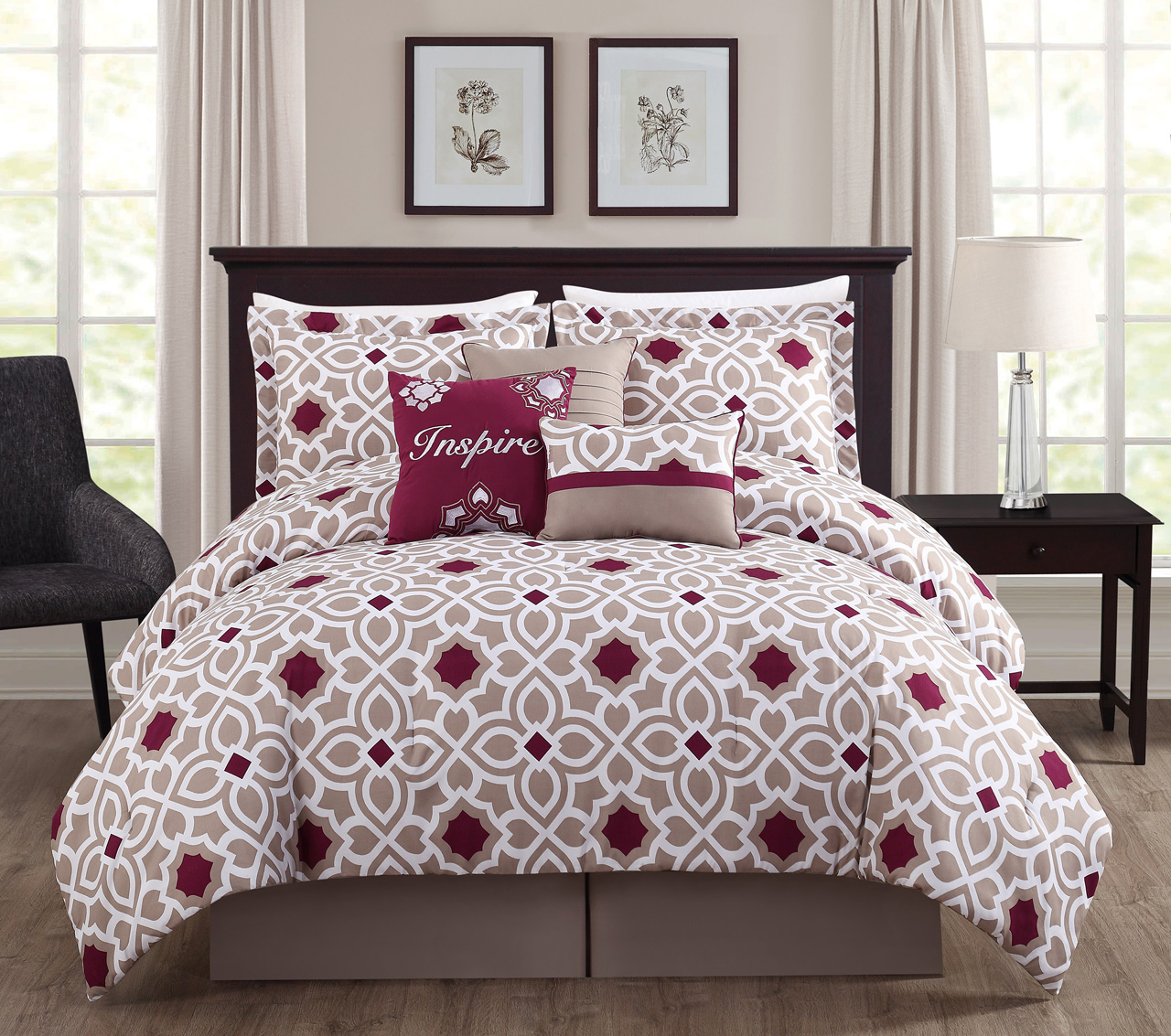 Taupe Bedroom 7 Piece Inspire Berry Taupe Comforter Set