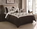 7 Piece King Jocelyn Chocolate/Ivory Flocking Comforter Set