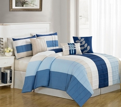 7 Piece King Kendal Blue Comforter Set