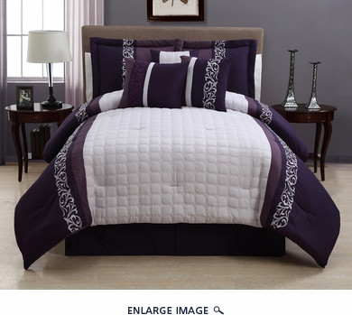 7 Piece King Lafayette Purple and White Comforter Set