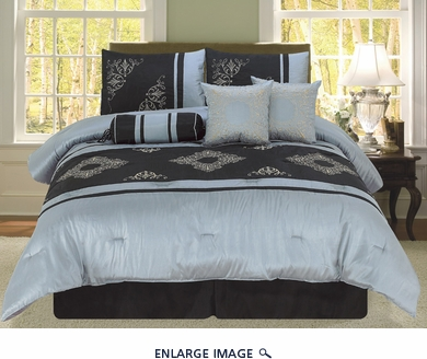 7 Piece King Letizia Black Embroidery Comforter Set
