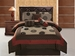 7 Piece King Medallion Brick and Coffee Applique Comforter Set