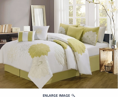 7 Piece King Provence Yellow Embroidered Comforter Set