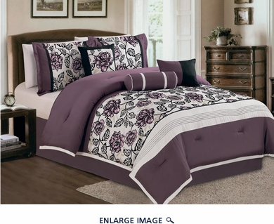 7 Piece King Purple and Ivory Flocked Comforter Set