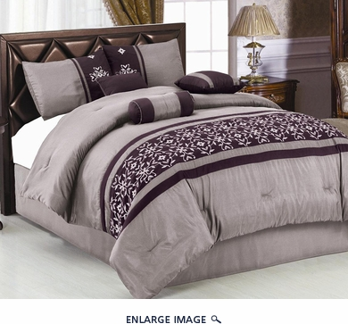 7 Piece King Purple Floral Embroidered Comforter Set