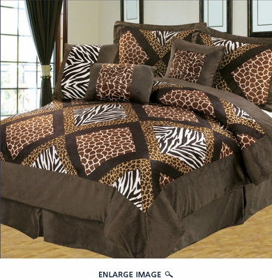 7 Piece King Safari Patchwork Micro Suede Comforter Set