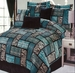 7 Piece King Safari Turquoise Patchwork Micro Suede Comforter Set
