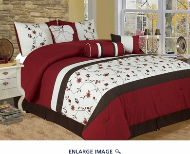 7 Piece King Sakura Embroidered Bedding Comforter Set
