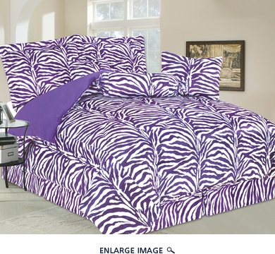 7 Piece King Zebra Faux Fur Bedding Comforter Set Purple