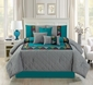 7 Piece Lattice Embossed Teal/Gray Comforter Set