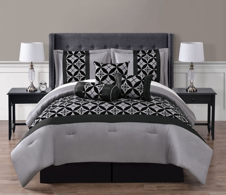7 Piece Liam Black/Gray Comforter Set