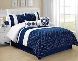 7 Piece Malibu Navy/White Comforter Set