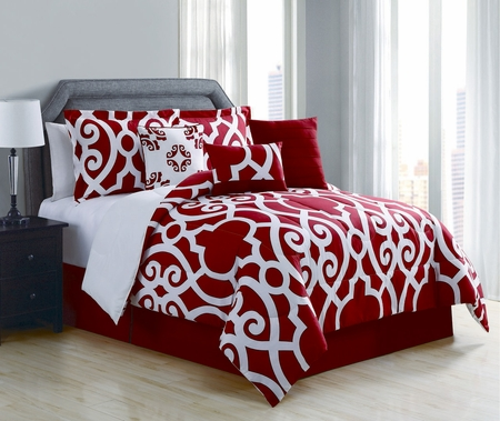 7 Piece Megan Red/White Comforter Set