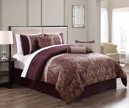 7 Piece Milano Jacquard Purple/Gold Comforter Set