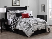 7 Piece Newspaper Reversible Comforter Set