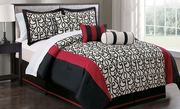 7 Piece Phoebe Black/Ivory/Red Comforter Set