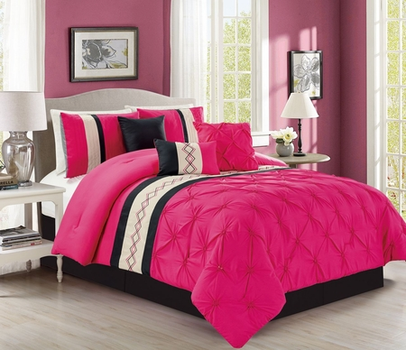 7 Piece Pintuck Pinch Pleated Hot Pink/Ivory Comforter Set