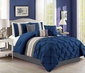 7 Piece Pintuck Pinch Pleated Navy/Ivory Comforter Set