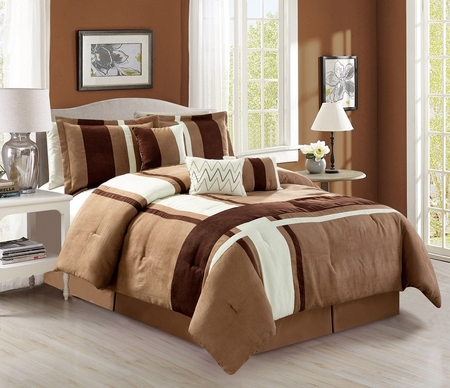 7 Piece Plush Microsuede Stripe Camel/Ivory/Coffee Comforter Set
