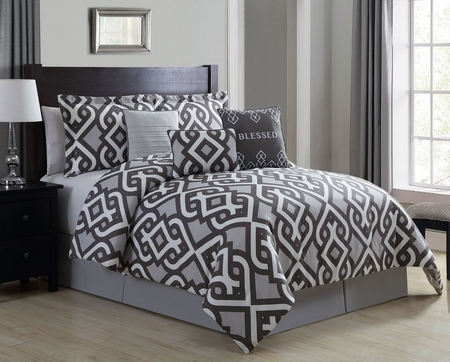 7 Piece Powerful Blessed Gray Comforter Set