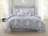 7 Piece Queen Allure Metallic/White Comforter Set