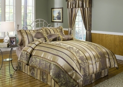 7 Piece Queen Amethyst Jacquard Comforter Set Brown