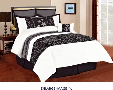 7 Piece Queen Autumn Black and White Embroidered Comforter Set