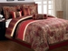 7 Piece Queen Autumn Leaf Comforter Set