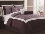 7 Piece Queen Barclay Plum/Ivory Embroidered Comforter Set