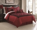 7 Piece Queen Bel Air Burgundy/Black Flocking Comforter Set