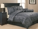 7 Piece Queen Black and Charcoal Geo Comforter Set