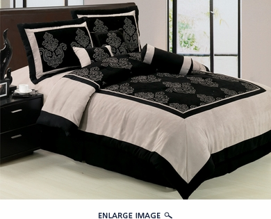 7 Piece Queen Black Chenille Suede Block Comforter Set