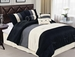7 Piece Queen Black Pleating Bedding Comforter Set