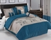 7 Piece Queen Blue and Beige Floral Embroidered Comforter Set