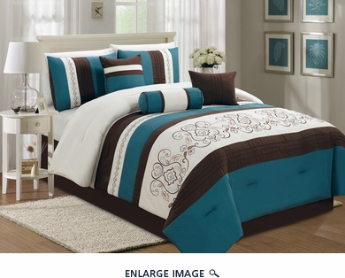 7 Piece Queen Blue and Ivory Floral Embroidered Comforter Set