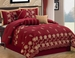 7 Piece Queen Burgundy Floral Embroidered Comforter Set