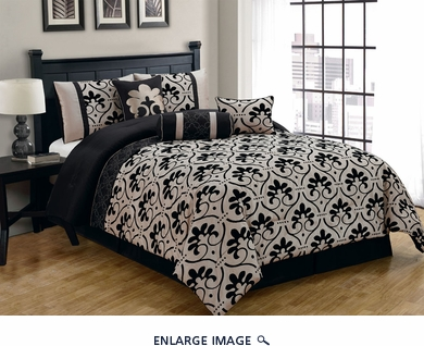 7 Piece Queen Cassidy Flocked Black and Gold Comforter Set