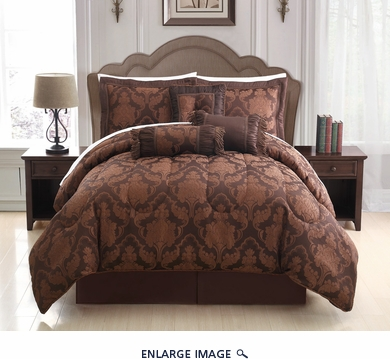7 Piece  Queen Celina Chocolate Comforter Set