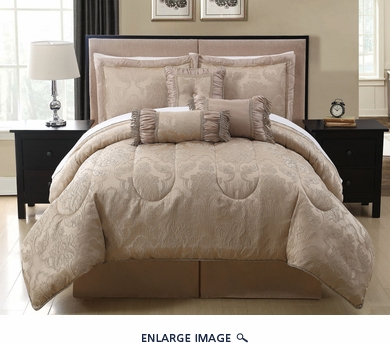 7 Piece  Queen Celina Taupe Comforter Set