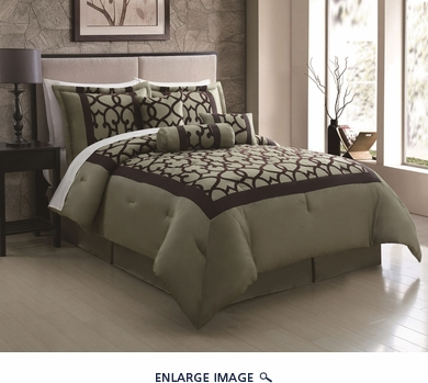 7 Piece Queen Chapman Sage/Chocolate Flocking Comforter Set