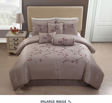 7 Piece Queen Cheryl Embroidered Floral Comforter Set
